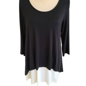Et' Lois Black & White Two Layered Tunic Top - M
